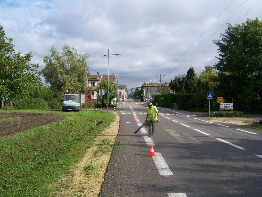Soufflage des herbes coupées en bordure de route