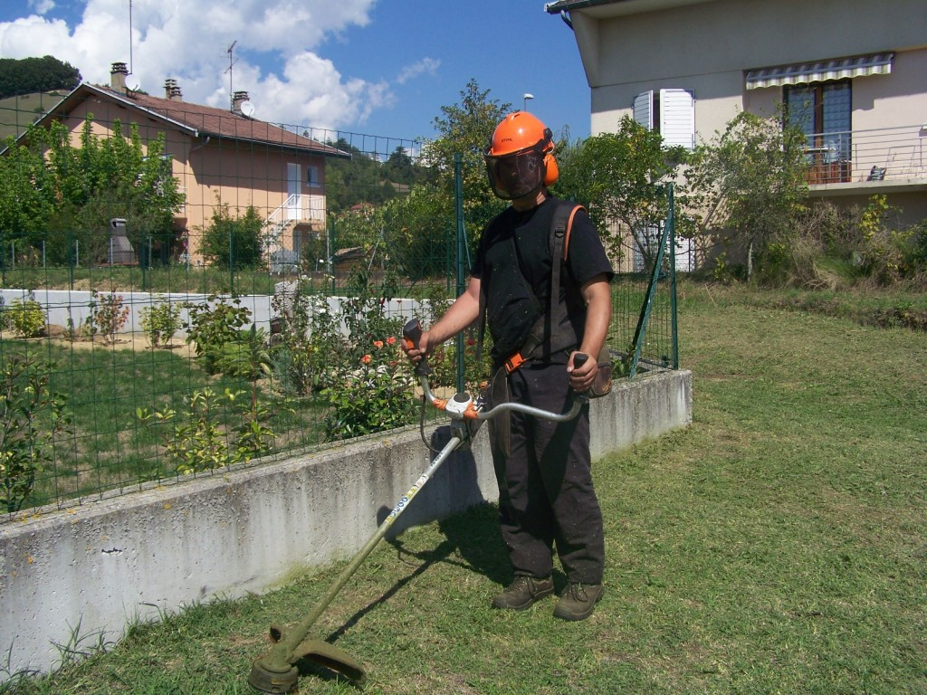 Tonte de pelouse au Rotofil (ras de mur)